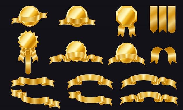 Conjunto de fitas douradas e etiquetas