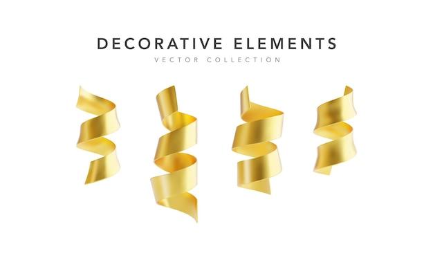 Conjunto de fitas douradas serpantinas isoladas no fundo branco.