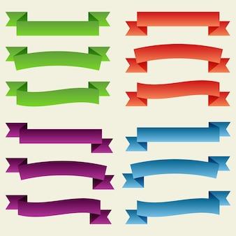 Conjunto de fitas e banners vazios coloridos. pronto para o seu texto ou design. ilustração isolada do vetor.