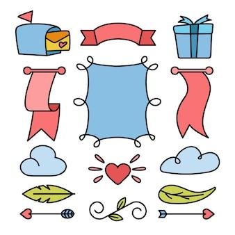 Conjunto de fitas e elementos de cartão de casamento