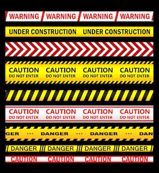 Conjunto de fitas e fitas de advertência, segurança e cuidado para segurança, crime ou design proibido