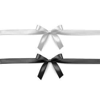 Conjunto de fitas e laços realistas em preto e branco