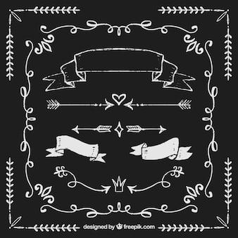 Conjunto de fitas e setas no estilo quadro-negro