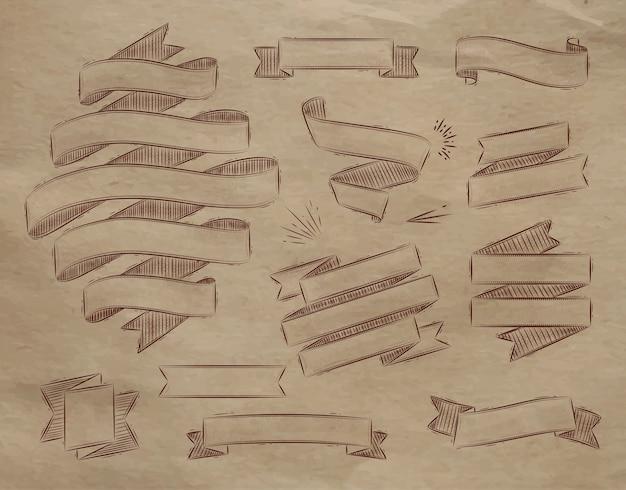 Conjunto de fitas em estilo vintage estilizado de desenho em papel kraft