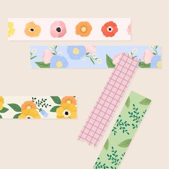 Conjunto de fitas florais de washi