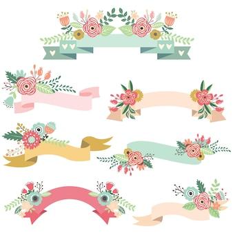 Conjunto de fitas florais