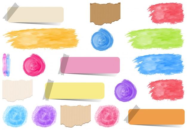 Conjunto de fitas isoladas, adesivos, pinceladas de tinta