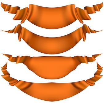 Conjunto de fitas laranja brilhantes em um fundo branco.