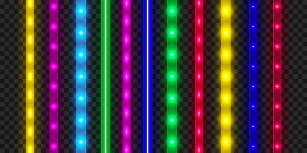 Conjunto de fitas led. decoração de fita colorida brilhante iluminada. luzes de néon realistas.