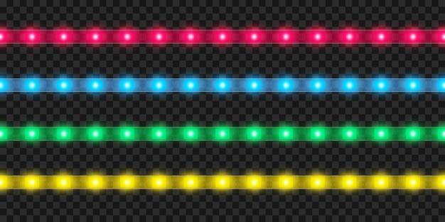 Conjunto de fitas led realistas. decoração de fita colorida brilhante iluminada.