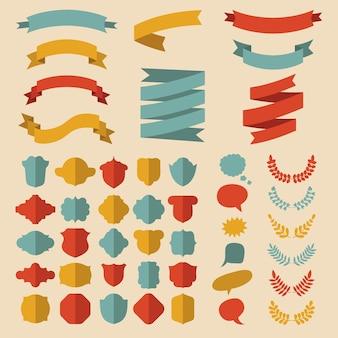 Conjunto de fitas, louros, grinaldas, rótulos e balões de fala em estilo simples.