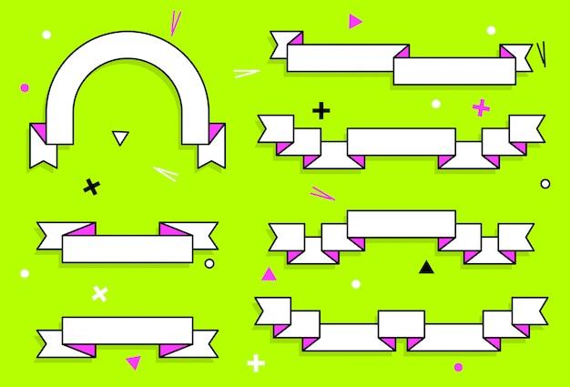 Conjunto de fitas na moda vector plana geométrica.