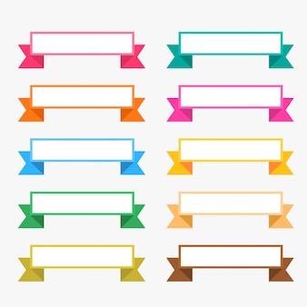 Conjunto de fitas planas coloridas com espaço de texto