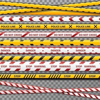Conjunto de fitas policiais de advertência de perigo