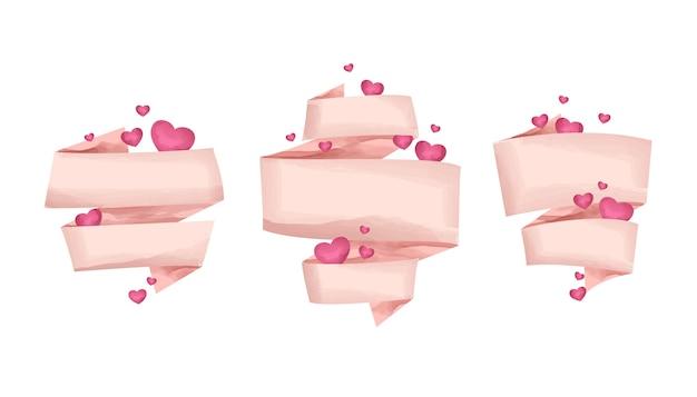 Conjunto de fitas rosa com corações em estilo aquarela