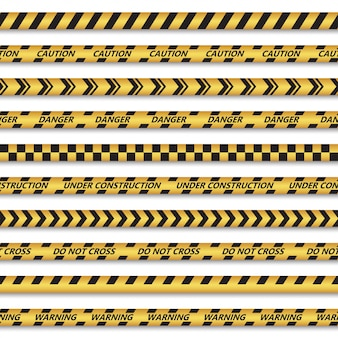 Conjunto de fitas sem costura para zonas perigosas. ilustração vetorial
