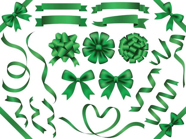 Conjunto de fitas verdes sortidas