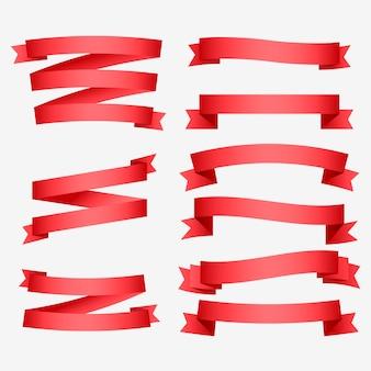 Conjunto de fitas vermelhas brilhantes