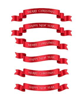 Conjunto de fitas vermelhas com textos de feliz natal e feliz ano novo. elementos de design de vetor