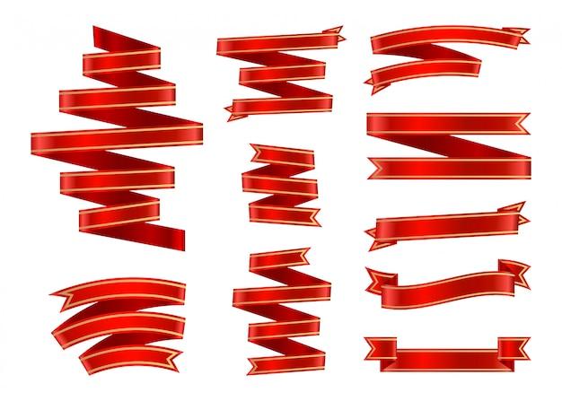 Conjunto de fitas vermelhas de cetim com moldura de ouro.