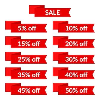 Conjunto de fitas vermelhas de venda com diferentes valores de desconto. modelo de etiqueta de venda. ilustração vetorial