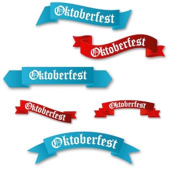 Conjunto de fitas vermelhas e azuis de oktoberfest