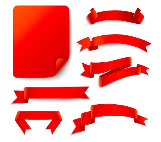 Conjunto de fitas vermelhas isoladas