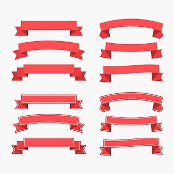Conjunto de fitas vermelhas planas