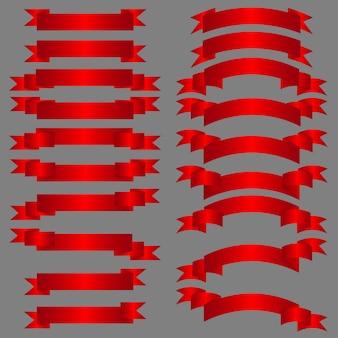 Conjunto de fitas vermelhas.