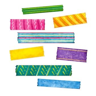 Conjunto de fitas washi aquarela coloridas diferentes
