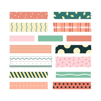 Conjunto de fitas washi de design plano