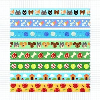 Conjunto de fitas washi diferentes desenhadas