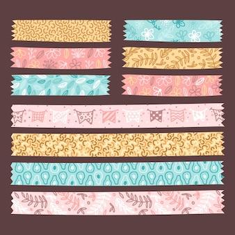 Conjunto de fitas washi fofas desenhadas