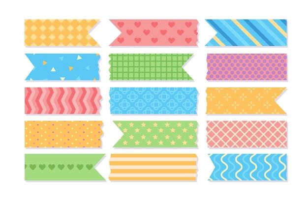 Conjunto de fitas washi planas e adoráveis