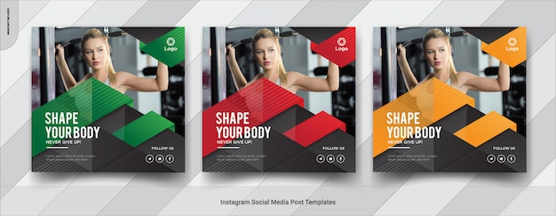Conjunto de fitness, design de post de mídia social do instagram ginásio