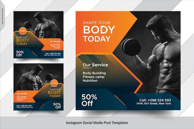 Conjunto de fitness insta post design de modelo de postagem de mídia social