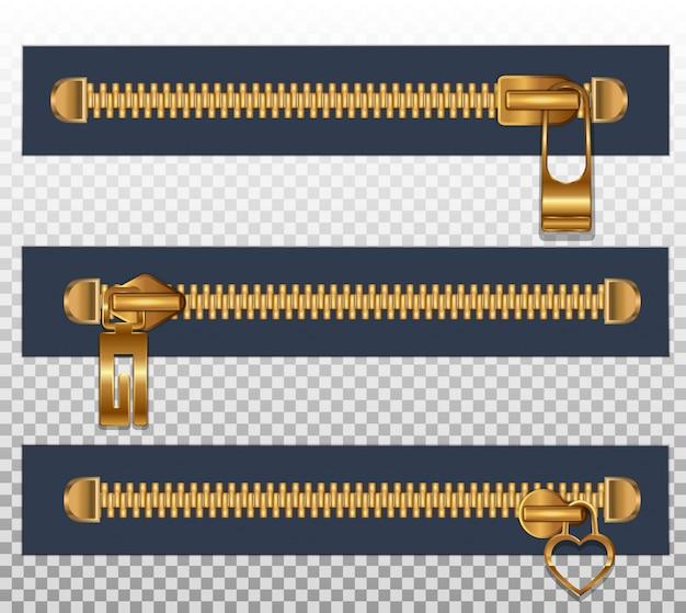 Conjunto de fixadores de zíperes horizontais ouro
