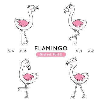 Conjunto de flamingos doodle em várias poses isolados