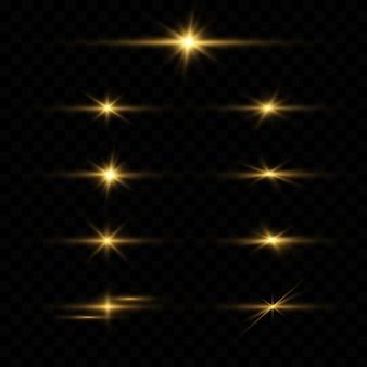 Conjunto de flares de lente horizontal amarelo.