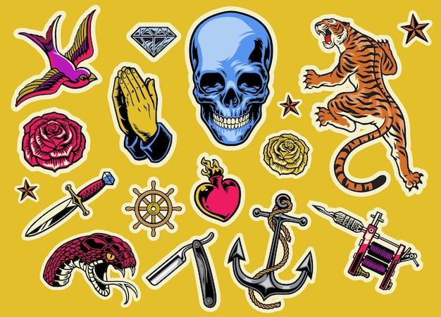 Conjunto de flash de tatuagem colorido