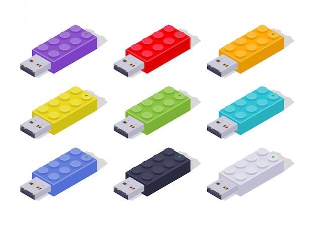Conjunto de flash drives usb coloridos isométricos em forma de tijolos construtores