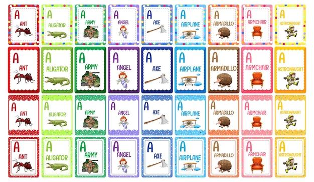 Conjunto de flashcard do alfabeto da letra a