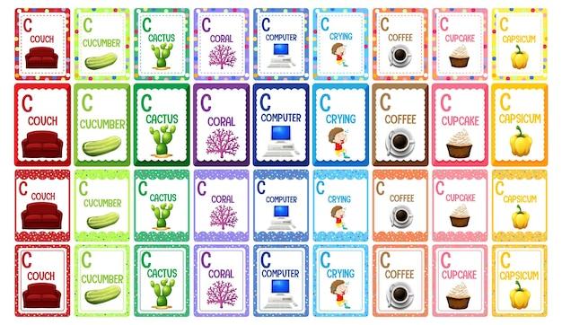 Conjunto de flashcard do alfabeto da letra c