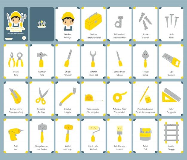 Conjunto de flashcards bilíngüe de trabalhador e ferramentas