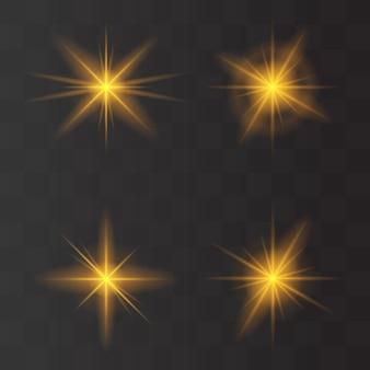 Conjunto de flashes, explosão estelar e brilhos em fundo transparente. efeito brilhante dourado com raios de luz. ilustração vetorial