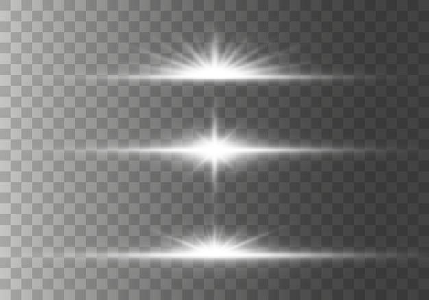Conjunto de flashes, luzes e brilhos em um fundo transparente. raios de luz brilhantes. linhas brilhantes.