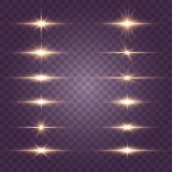 Conjunto de flashes, luzes e brilhos em um transparente