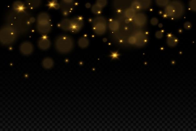 Conjunto de flashes, luzes e brilhos. ouro brilhante pisca e brilha. luzes douradas abstratas isoladas raios de luz brilhantes. linhas brilhantes