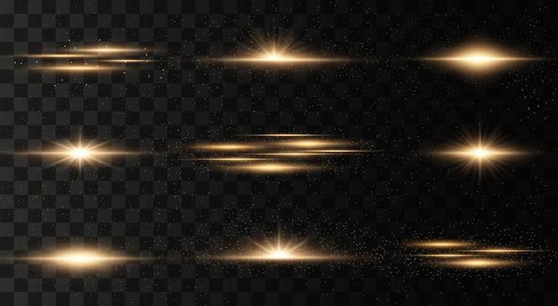 Conjunto de flashes, luzes e brilhos