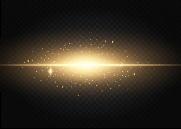 Conjunto de flashes, luzes e faíscas. efeitos das luzes douradas isolados em um.
